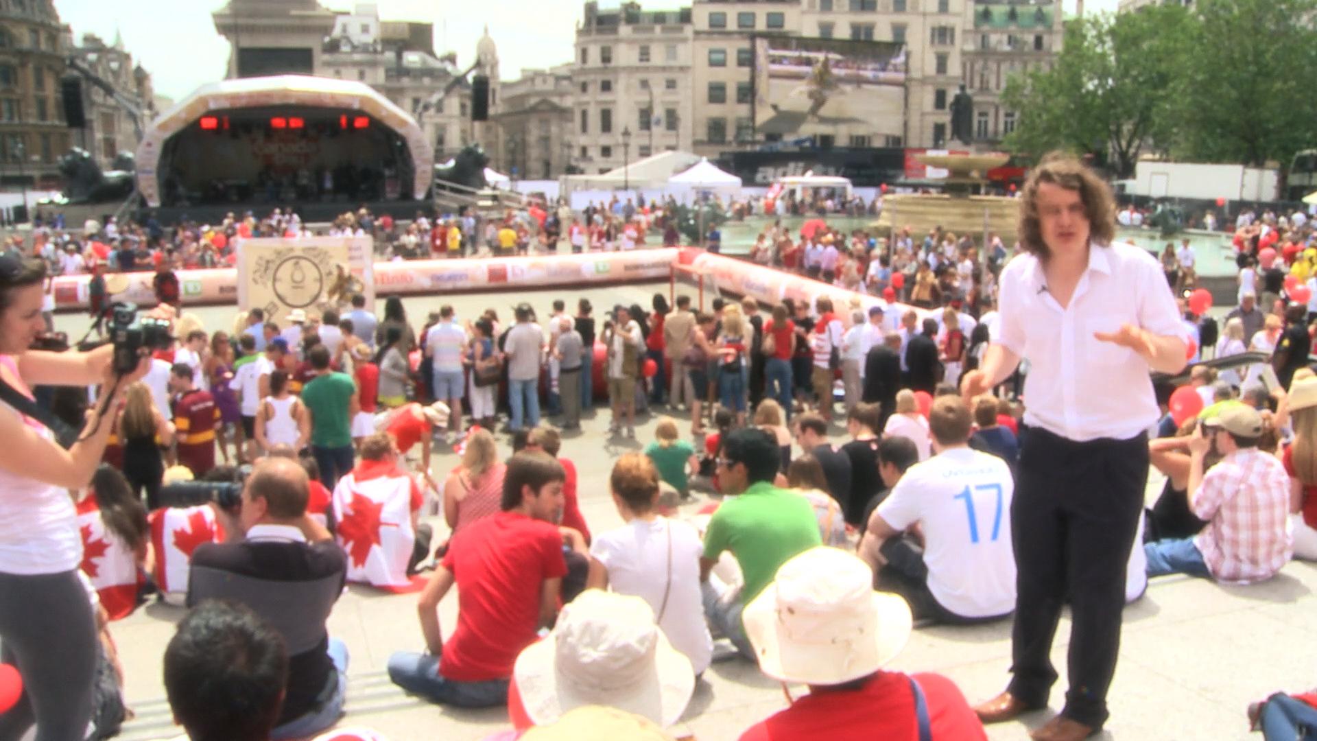 Ed amongst the Trafalgar Square Crowd